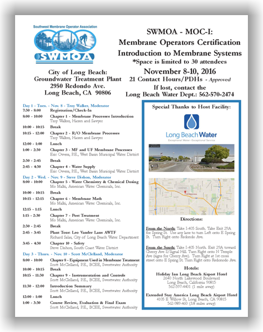 SWMOA Membrane Operator Certification - MOC-I: Introduction to Membrane Systems - Nov. 8-10, 2016 - Long Beach, CA @ City of Long Beach: Groundwater Treatment Plant | Long Beach | California | United States