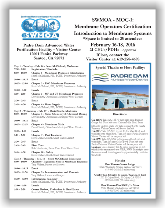 Membrane Operator Certification (MOC) Short School - Introduction to Membrane Systems - Santee, CA - Feb. 16-18, 2016 @ Padre Dam Advanced Water Purification Facility - Visitor Center | Santee | California | United States