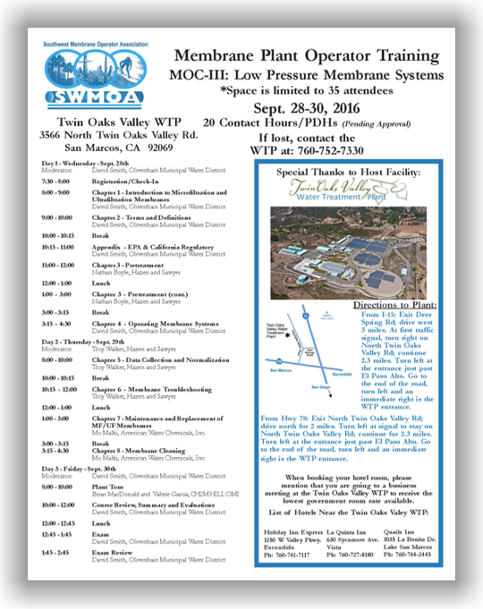 SWMOA Membrane Operator Certification - MOC-III: Low Pressure Membrane Systems - Sept. 28-30, 2016 - San Marcos, CA @ Twin Oaks Valley Water Treatment Plant | San Marcos | California | United States