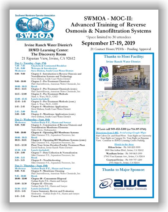 SWMOA Membrane Operator Certification - MOC-II: Advanced Training of Reverse Osmosis & Nanofiltration Systems - Irvine, CA - Sept. 17-19, 2019 @ Irvine Ranch Water District | Long Beach | California | United States