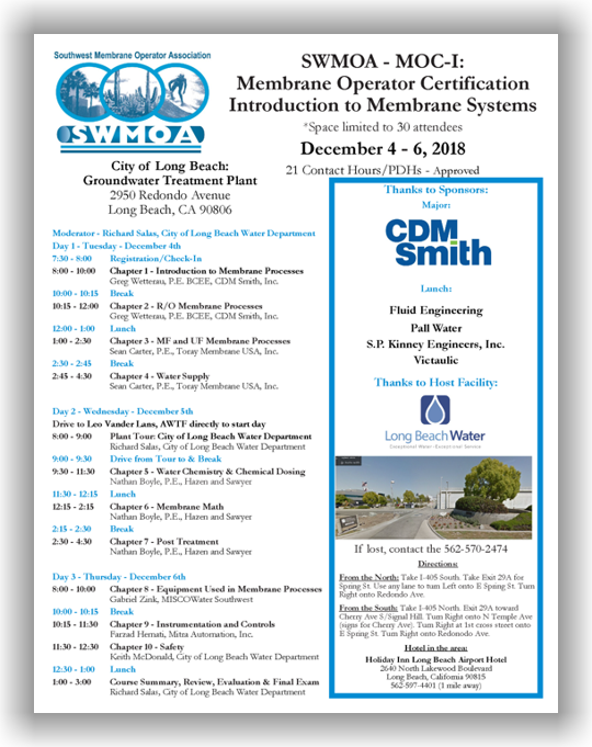 SWMOA Membrane Operator Certification - MOC-I: Introduction to Membrane Systems - Dec. 4-6, 2018 - Long Beach, CA @ City of Long Beach: Groundwater Treatment Plant | Long Beach | California | United States