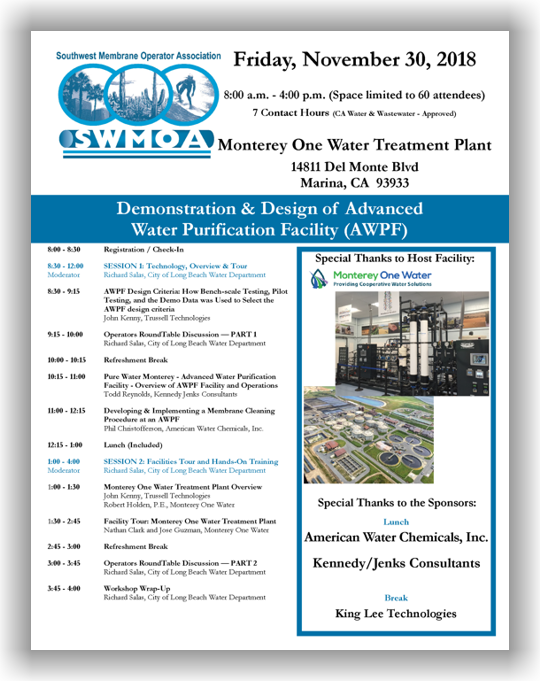SWMOA Workshop - Marina, CA - November 30, 2018 @ Monterey One Water Treatment Plant | Marina | California | United States