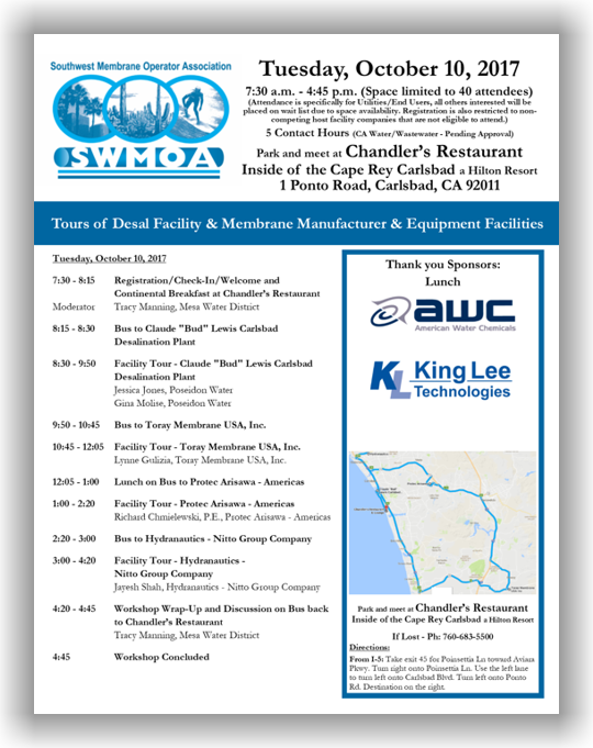 SWMOA Tours of Desal Facility & Membrane Manufacturer & Equipment Facilities - October 10, 2017 - North San Diego County, CA @ California | United States