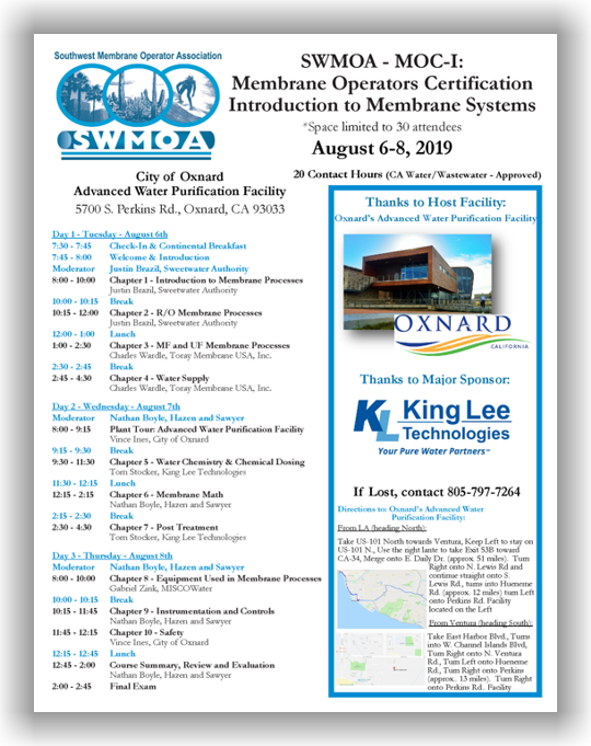 SWMOA Membrane Operator Certification - MOC-I: Introduction to Membrane Systems - Oxnard, CA - August 6-8, 2019