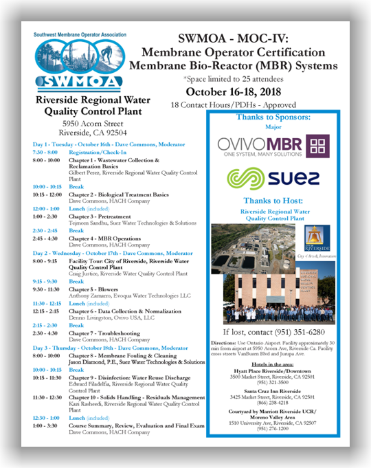 SWMOA Membrane Operators Certification – MOC-IV: Membrane Bio-Reactor (MBR) Systems - Riverside, CA - October 16-18, 2018 @ Riverside Regional Water Quality Control Plant | Riverside | California | United States