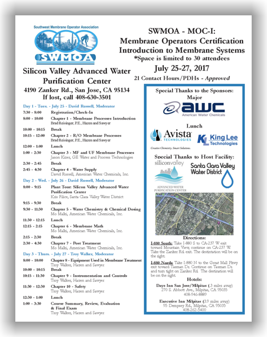 SWMOA Membrane Operator Certification - MOC-I: Introduction to Membrane Systems - July 25-27, 2017 - San Jose, CA @ Silicon Valley Advanced Water Purification Center | San Jose | California | United States