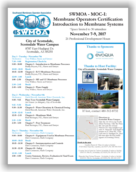 SWMOA Membrane Operator Certification - MOC-I: Introduction to Membrane Systems - Nov. 7-9, 2017 - Scottsdale, AZ @ Scottsdale Water Campus | Scottsdale | Arizona | United States